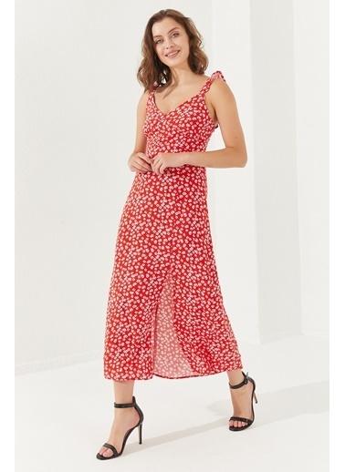 Reyon REYON Kadın Sırt Dekolteli Midi Elbise Kırmızı Kırmızı